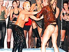 Girls wrestling in jell-o tubes