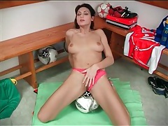 Big breasts babe grinds her pussy on soccer ball tubes