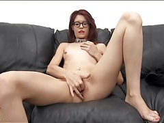 Skinny redhead in a metal collar sucks dick tubes