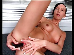 Teen with perfect little tits fucks a dildo tubes