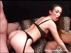 Hot lady in a lingerie set spit roasted lustily tubes