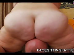 Fat girl sits on his face and smothers her man tubes
