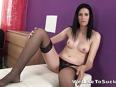 Blue eyed girl strips to her sexy stockings tubes