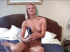 Amateur strips in hotel room and fucks a toy tubes