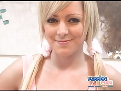 Long blonde hair in pigtails as chick fondles tits tubes