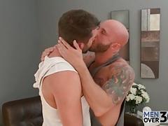 Lustily kissing bears enjoy nipple play and cocksucking tubes