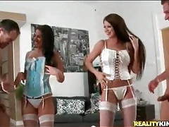 Hot girls try on corsets and kiss guys tubes