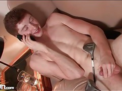 Twink masturbates while on the telephone tubes