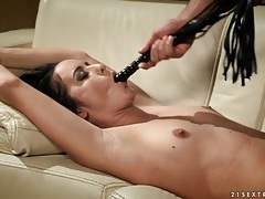 Slut tied up on the couch and face fucked tubes
