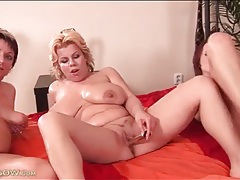 Three lesbian milfs have naughty dildo sex tubes