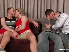 Four kissing gay guys suck dick sensually tubes