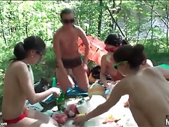 Teens in panties play vollyeball in the woods tubes