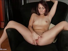 Solo brunette beauty finger bangs cunt tubes