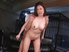 Slut with tied hands fucked in her cunt tubes