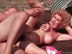 Moaning granny fucked poolside by young dick tubes
