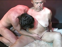 Cock and strapon fill granny pussy in threesome tubes
