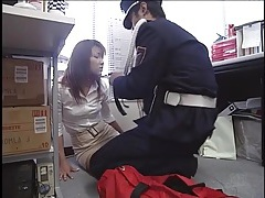 Security officer ties up japanese girl tubes