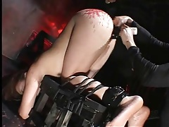 Dildo in the cunt as hot wax covers her ass tubes