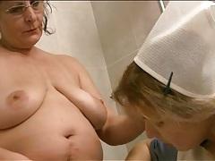 Retro nurse costume on girl in lesbian porn tubes