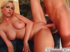 Blonde with bald vagina loves creampie tubes