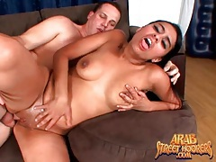 Shaved arab pussy fucked as girl rides it tubes