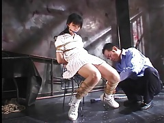 Japanese tennis girl tied up in dungeon tubes
