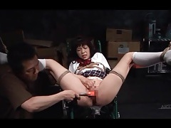 Schoolgirl in sexy rope bondage licked on pussy tubes