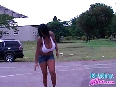 Bouncy babe kristina milan plays basketball tubes