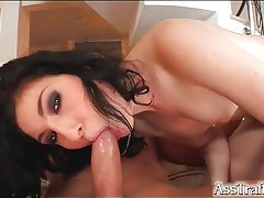 Slut in pink lipstick fucked in the tight ass tubes