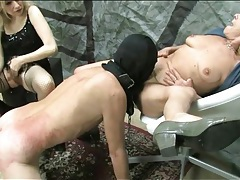 Sub guy serves granny and mistress tubes