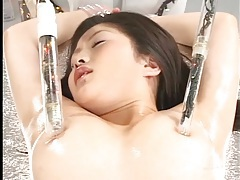 Kinky toy play with sexy girl tied down tubes
