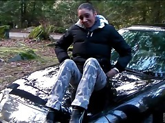 Girlfriend masturbates on the hood of the car tubes