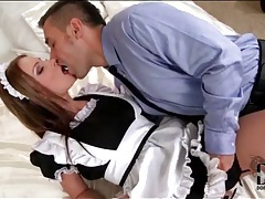 French maid opens her legs and gets licked tubes