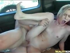 Big dick bones hot blonde in car tubes