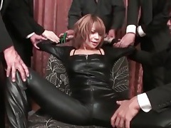 Sexy leather on japanese girl they strip tubes