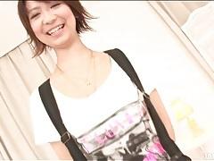 Tall skinny japanese girl in satin lingerie tubes