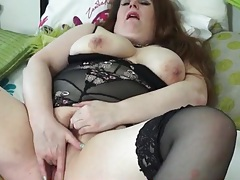 Bbw in lingerie finger bangs her pussy tubes