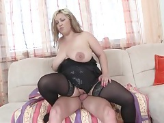 Fat babe in sexy black stockings fucked tubes