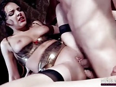 Submissive in shiny lingerie used by two guys tubes