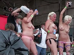 Lots of topless ladies dance in public tubes