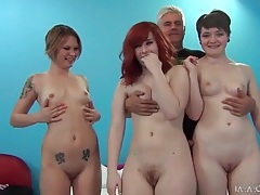 Three cuties fuck in a sexy orgy video tubes