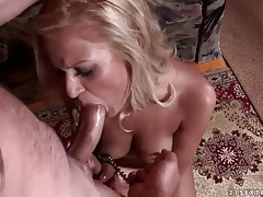 Cuffed slut in nipple clamp gives a bj tubes