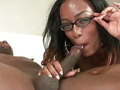 Black cock pounds her soaking wet ebony cunt tubes
