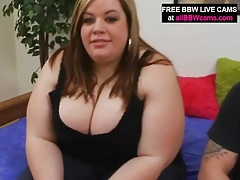 Bbw hottie with incredible cleavage sucks cock tubes