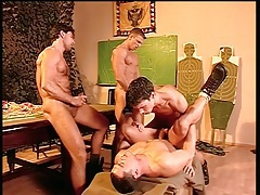 Hairy chest military guys fuck and cum in group porn tubes