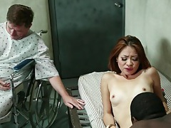 Asian wife fucks black doctor while hubby watches tubes