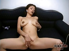 Skinny slut sucks black cock from her knees tubes