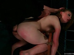 Bitch bound to a chair and fucked doggystyle tubes