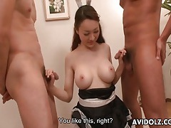 Japanese girl in uniform cums from toy sex tubes