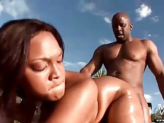 Black slut spit roasted in ebony threesome tubes